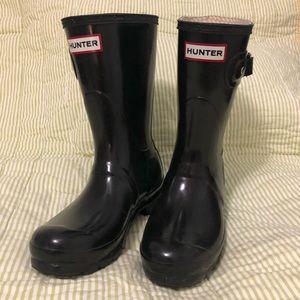 Hunter Boots Black Original Gloss Short Size 6